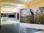 Fotoausstellung im Foyer der Hauptausstellung - zu sehen sind 6 großformatige Fotos vom Gelände der Gedenkstätte